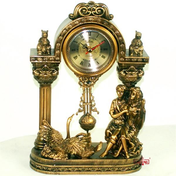 Wholesale- Fashion resin crafts desktop clock pendulum clock European style golden dating lovers sculpture elaborating wedding decoration