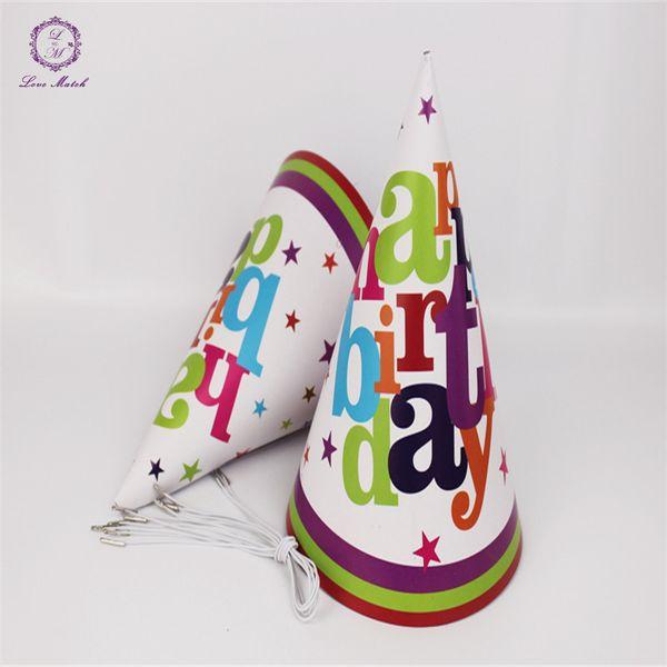 Al por mayor- 6pcs Fiesta de cumpleaños para niños Sombrero Decoración Mariposa Feliz cumpleaños Papel Sombrero Fiesta Gorras Evento Fiesta para niños Suministros