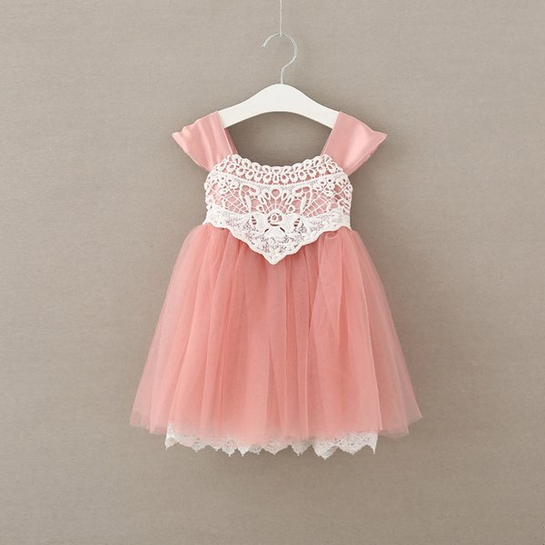 2019 Korean Summer Girls Dresses Lace Dress Childrens Dresses Sundress Flower Fashion New 2017 Girls Party Dress For Girl Pink Beige A6310 From