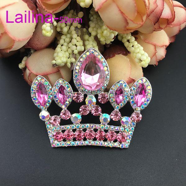 free shipping zinc alloy hot sale high quality 50mm Pink crown broach rhinestone tiara brooch pin