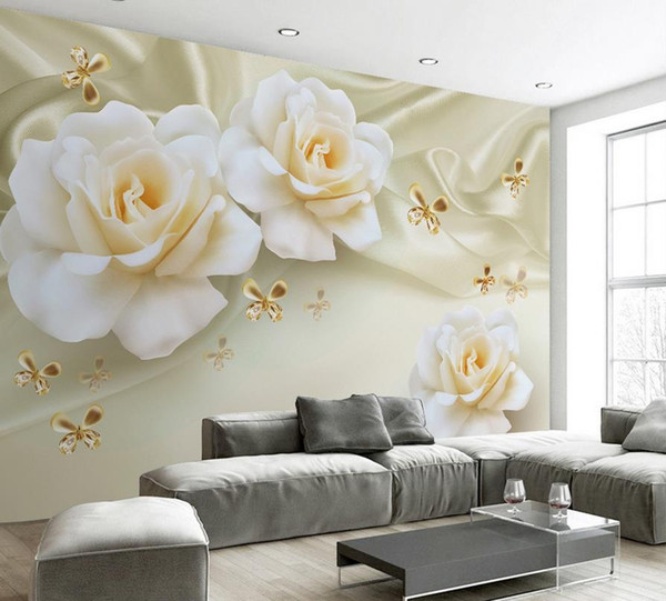 Fashion Decor Home Decoration For Bedroom Warm Roses Silk TV Background  Mural 3d Wallpaper 3d Wall