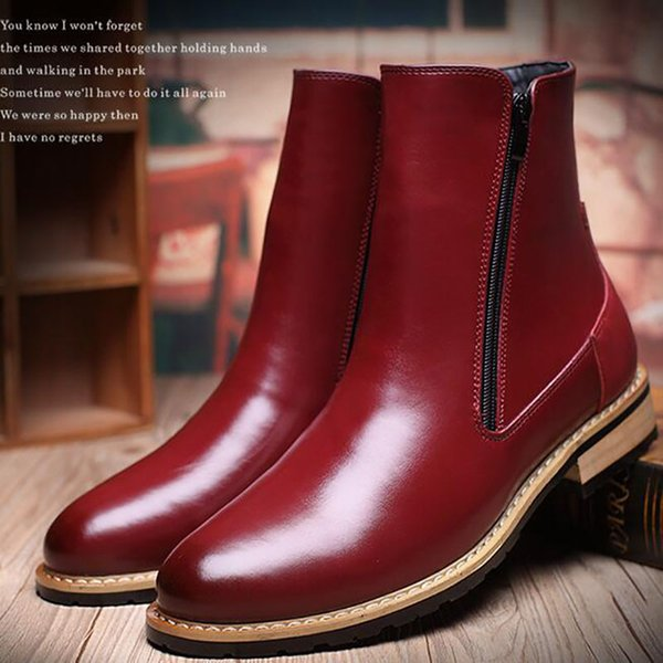 Men'S Martin Boots British Style Fashion Boots Shoes Genuine Leather Ankle Oxford Boots Slip-On Motorcycle Zipper Shoes Free Shipping
