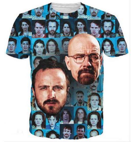 Nova Moda Mens / Mulheres Breaking Bad Heisenberg T-Shirt Estilo Verão Engraçado Unisex 3D Impressão Casual T-Shirt S --- 5XL AA416