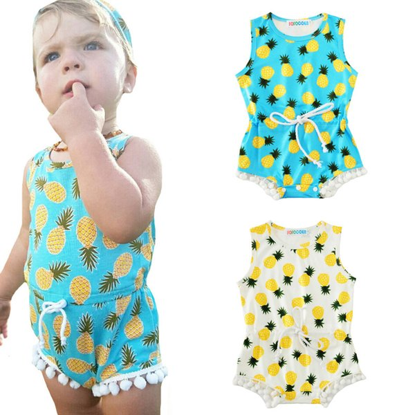Baby Girl Romper With Tassel 2017 Summer Fashion Fruit Pineapple Printed Sleeveless Newborn Jumpsuit Rompers Kids Girls Clothes Outfits