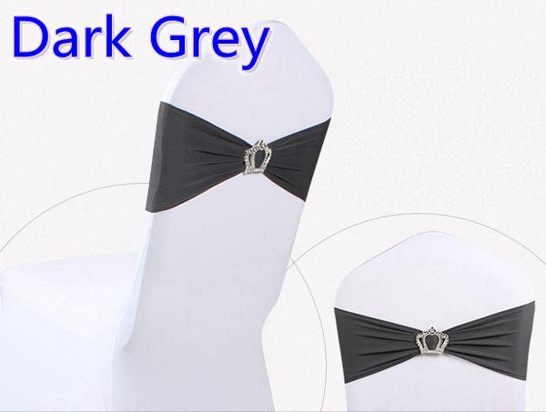 Dark grey colour Crown buckle lycra sash for wedding chairs decoration spandex band stretch bow tie lycra ribbon belt on sale
