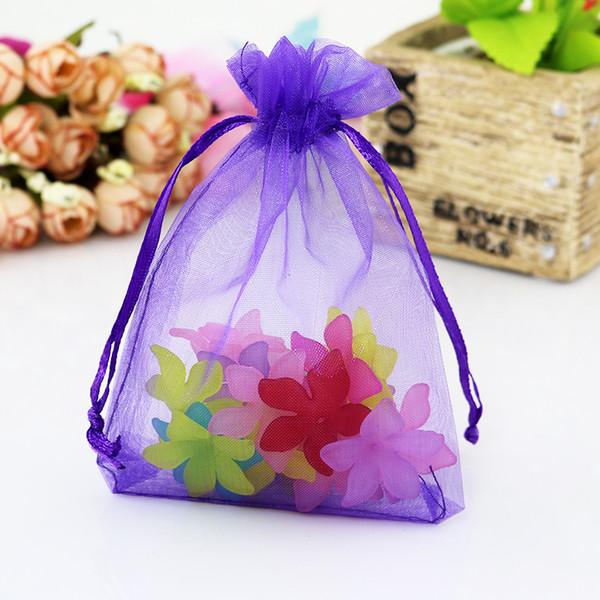 100pcs / lot 7X9cm scuro viola colori sacchetti di imballaggio dei monili borse di organza disegnati sacchetti regalo di nozze bustina organza
