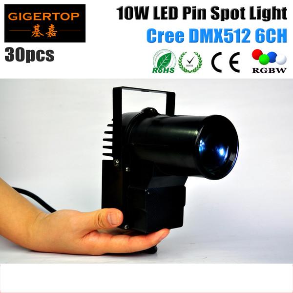 Freeshipping 30pcs/lot DMX512 10W Lamp 4IN1 LED Pinspot Light DMX512 Control LED Rain Stage Light RGBW night club spot light