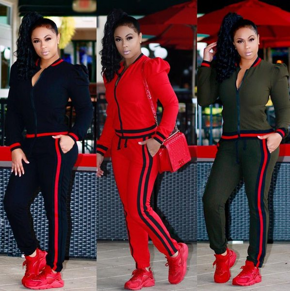Womens Tracksuits sexy Panelled Striped jacket tops pants set Casual Two-Piece sets Women's Sport suits sportswear Black Red Army Green