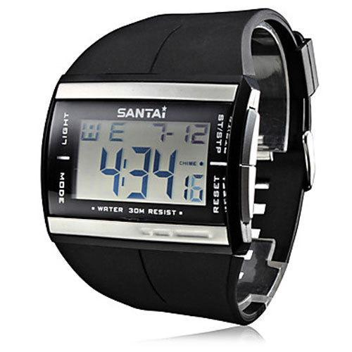 Dropship Europa Marca Relojes Reloj Reloj de pulsera de Cuarzo de Goma SanTai Reloj Reloj de pulsera de Cuarzo de Los Hombres Reloj de pulsera resistente al agua Reloj Digital Relogio