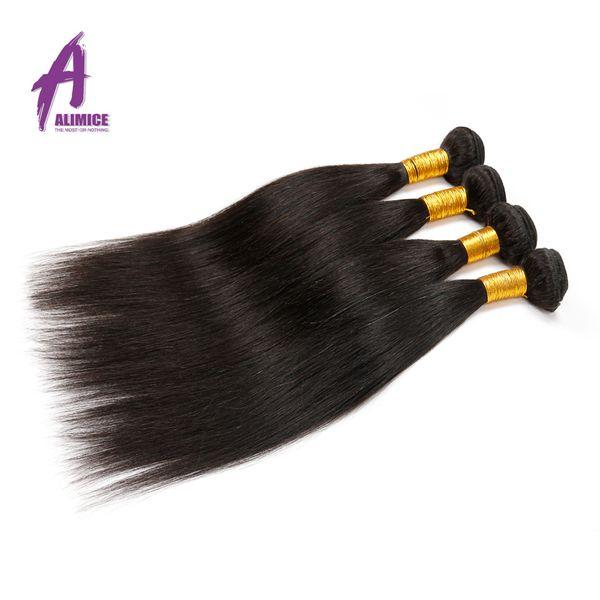 Alimice Hair Peruvian Straight 1 Piece Natural Color 100% Human Hair Bundles Weaving 10-26inch Non-Remy Hair