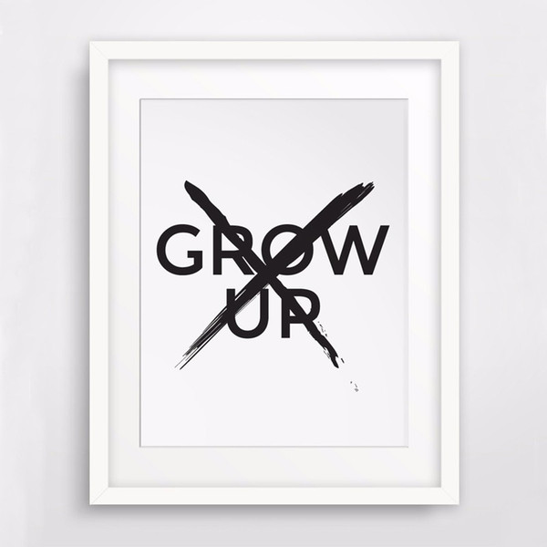 Don't Grow Up Print Canvas Poste Quote Wall Art, Nursery Boy Gift Room Sign, Nursery Art,Boys Kids Room Decor, Frame Not included