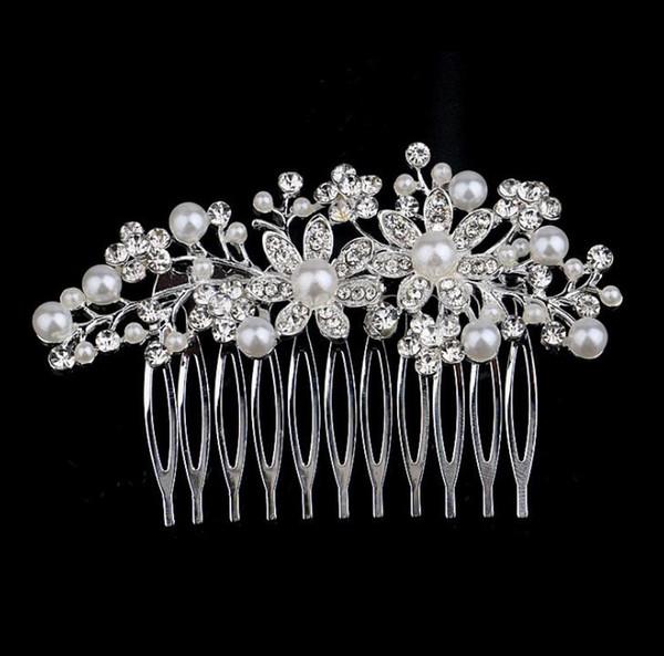 Women Pearl Crystal Flower Hair Combs Wedding Jewelry Hair Accessories