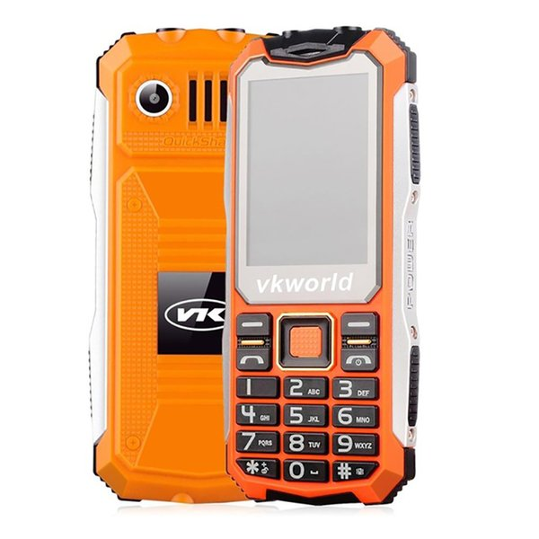 VKworld VK V3S 2.4inch 2200mah Dual Sim Card Double LED Lights Waterproof Shockproof Anti-dust 2G GSM Cell Phone