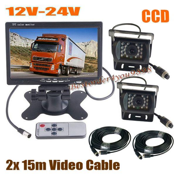 "2 x 18 LED IR CCD Car Reversing Camera + 4Pin 7"" LCD Monitor Rear View Kit Bus Truck Van & 2x 15M Video Cable 12V-24V Fast Shipping"