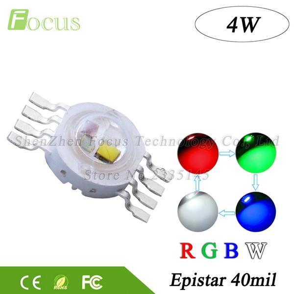 20 piezas de alta potencia LED Chip 4W RGBW 40mil Rojo Verde Azul Blanco Cena Cena brillante 8 pin Granos de luz para luces de escenario