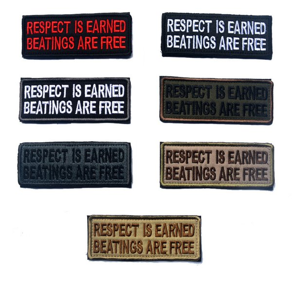 best selling 50 PCS RESPECT IS EARNED BEATINGS ARE FREE Tactical Morale Patch Hook&Loop Embroidered Badge Appliques Badges Wholesale free ship