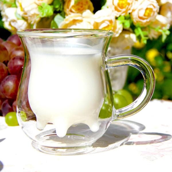 Wholesale- Free shipping heat resistant double wall glass creative mug milk bottle dairy cow milk glass coffee mug 250ml