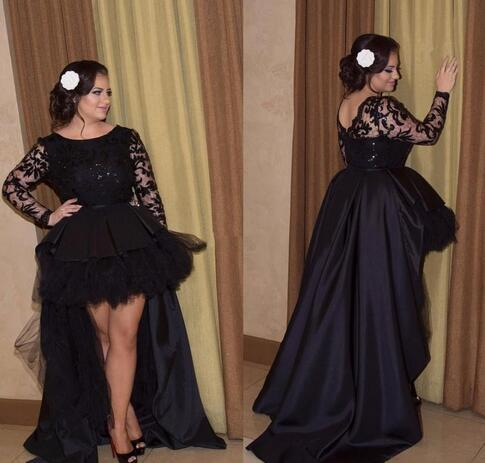 Black High Low Wedding Dress Custom Made Plus Size Short Front Long Back Illusion Lace Sleeves Tulle Satin Bridal Gowns