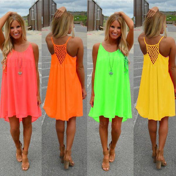 top popular New Fashion Sexy Casual Dresses Women Summer Sleeveless Evening Party Beach Dress Short Chiffon Mini Dress BOHO Womens Clothing Apparel 2020