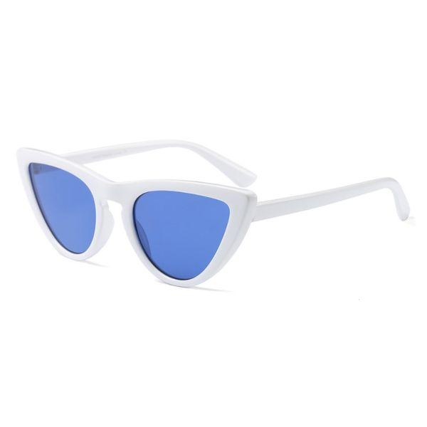 إطار أبيض شفاف عدسة زرقاء
