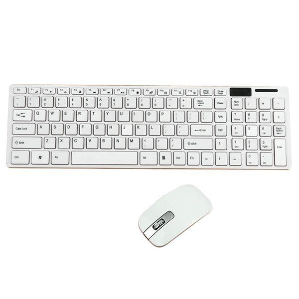 Kit clavier et souris ultra ultra minces sans fil 2,4 GHz pour PC portable noir et blanc en option