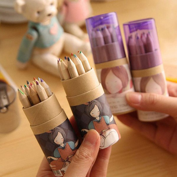 Toptan-12 adet / grup DIY Sevimli Karikatür Boyama Çizim Için Kalemtıraş Ile Kawaii Kız Ahşap Renkli Kalem