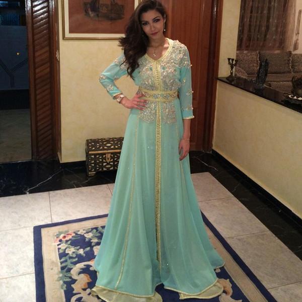 2019 Mint Green Long Sleeve Evening Dresses Dubai Arabic Kaftan Beaded Shiny Crystal gold embridery robe de soiree occasion prom gowns