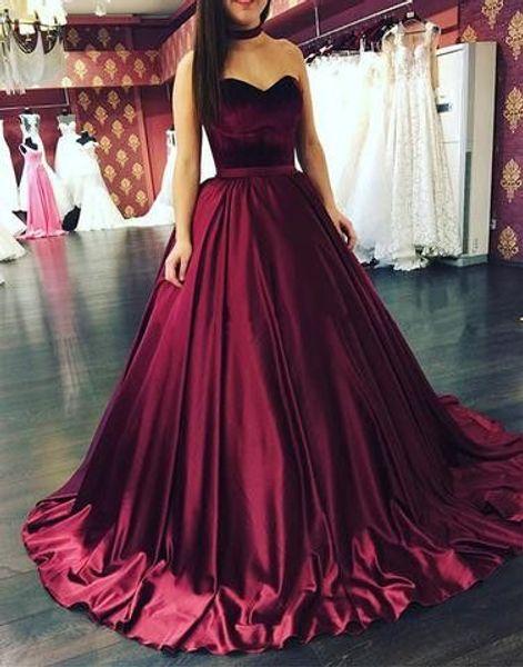 Burgundy Ball Gown Prom Dresses 2017 New Sleeveless Sweetheart Elastic Stain Velvet Formal Evening Gown Party Dresses Custom Made Plus Size