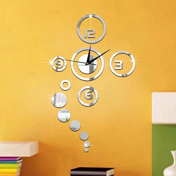 Wholesale Mirror Wall Clock Stickers 3d Acrylic Mirror Wall Sticker ...