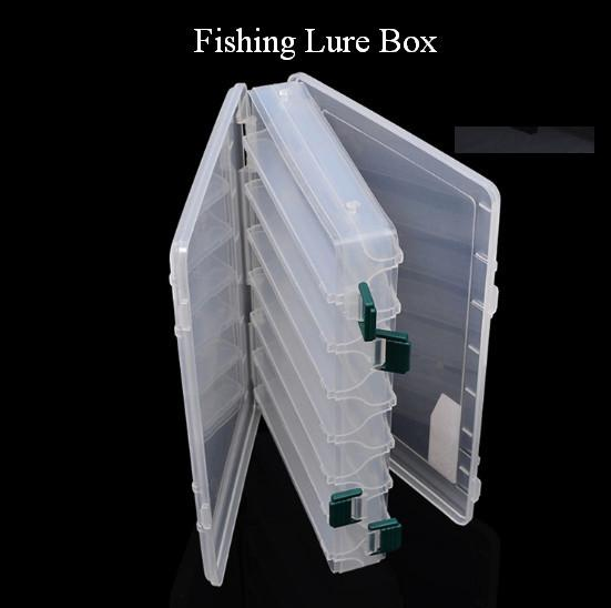 Clear Plastic Box for Fishing 27*18*4.5cm Fishing Lure Tackle Box Double Layer Spinner Bait Minnow Popper Pesca Storage Case out180