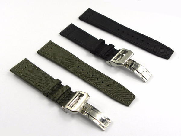 20 21 22mmGreen Black Nylon Fabric Leather Band Wrist Watch Band Strap Belt 316L Stainless Steel Buckle Deployment Clasp