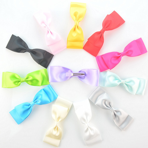 free shipping 50pcs/lot Fashion Headwear Hair Clip with 4.72inch Satin Ribbon Bow Girl Bowknot Hairpin Hair Accessories 18 Candy Color H0261