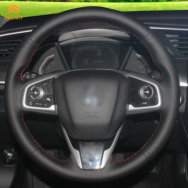 Mewant DIY Black Artificial Leather Steering Wheel Cover Wrap for Honda Civic 10 Civic 2016-2019 CRV CR-V 2017-2019 Clarity 2016-2018