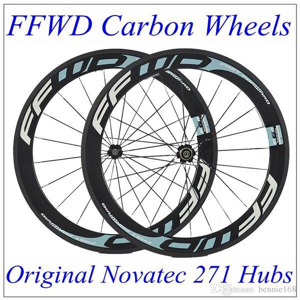 Popular Full Carbon Fiber Wheelset Clincher Tubular 60mm 700C 23mm Width 3K Matt FFWD F6R Bicycle Wheels Carbon Rims Novatec 271 Hubs
