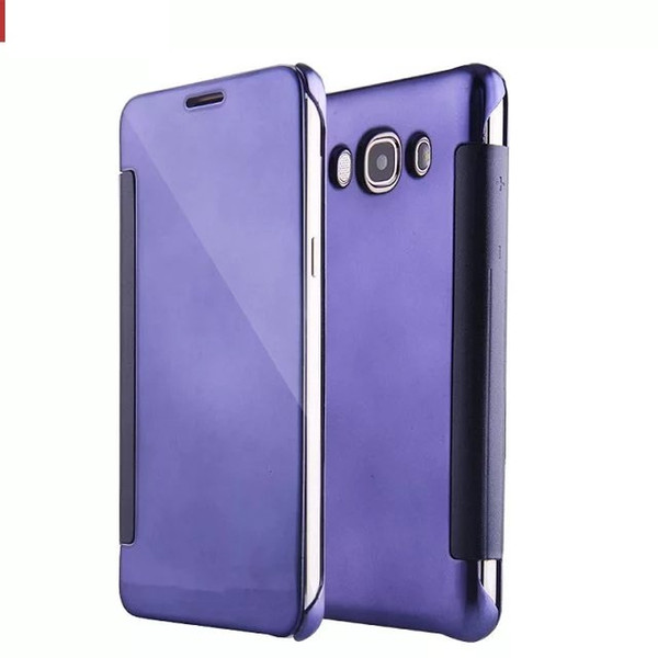b05e46fdcd Mirror Clear View Flip Smart Case plated Transparent Wallet leather Cover  for samsung Galaxy J3 J5