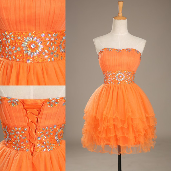 best selling Lovely Crystal Sweetheart Party Dresses Strapless Orange Mini Short Tulle Ccoktail Dresses Party Gown Prom Dress Homecoming Dresses