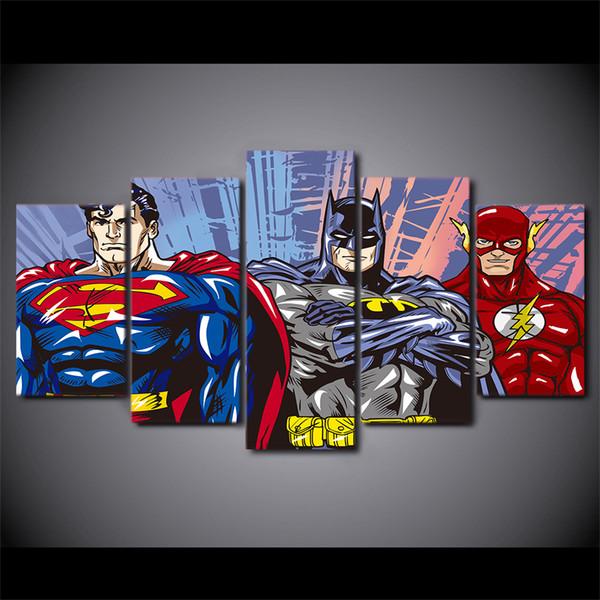 5 Pcs / Ensemble Encadré HD Imprimé de Bande Dessinée Superman Batman Flash justice ligue Groupe Peinture Toile Imprimer chambre décor affiche photo peinture