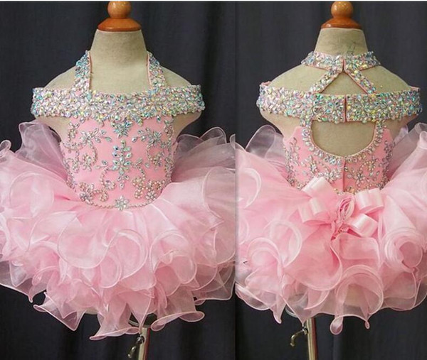 top popular 2019 Toddler Pageant Dresses Pink Organza Cupcake Kids Prom Gowns Crystal Beaded Open Back With Bow Formal Little Girls Birthday Party Dress 2020