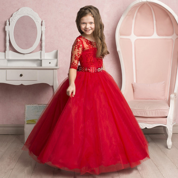 Çarpıcı Dantel Nakış Sheer Yarım Kollu Çiçek Kız Elbise Boncuklu Yaka Jewel Kanat Tül Çocuklar Pageant Elbise 0-12 Yıl Eski