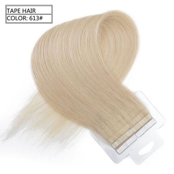 Grade 7A-- 40pcs &2.5g per piecs Tape In Hair Extensions Remy Brazilian Straight Hair 100% Human Hair Skin Weft #1b 2 4 613 60, Free Dhl