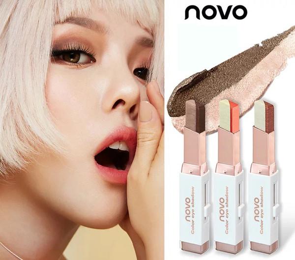 Venda por atacado - Double Color Shining Nude Eyeshadow Vara Glitter Nu Olho Sombra Primer Caneta Professional Marca Maquiagem Beleza Maquiagem Cosméticos