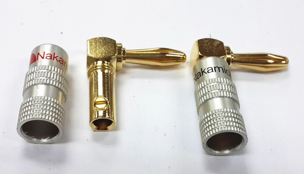 20pcs\Lot High Quality 90 Degree Angel 4mm Nakamichi Banana Plug For Video 24K Gold Plated Speaker Copper Adapter Audio Connector