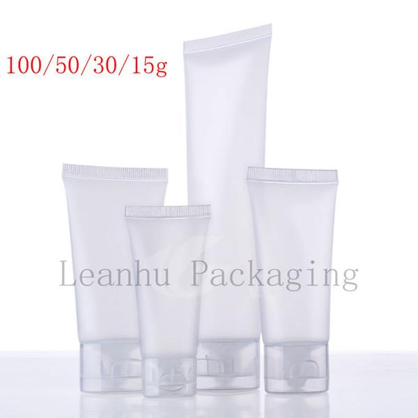 15 30 50 100 ml tubo de cosméticos de loción suave esmerilado natural, botella de plástico, envase de tubo de loción de champú, envase