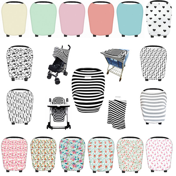 top popular 24 Patterns Stroller Covers Feather Printed Baby Car Seat Covers Striped Jersey Stretch Cotton Multi-Use Nursing Covers 2021