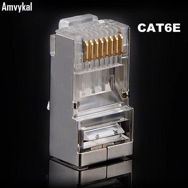best selling 5000pcs lot High Quality RJ-45 8P8C Network CAT6E Metal Shield Modular Plug Connector RJ45 CAT6 Ethernet Network Modular Plug Adapter