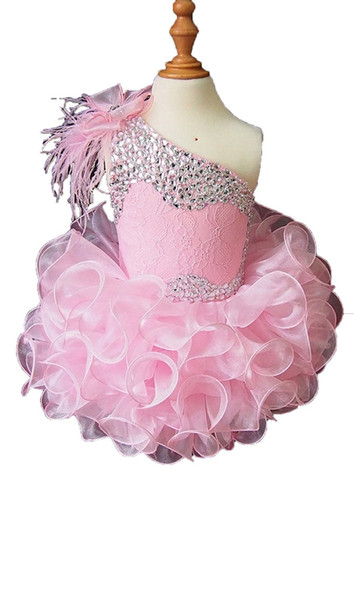 2018 Cute One Shoulder Cupcake Tutu Girls Pageant Dresses Organza Lace up Flower Girl Dresses Vestidos De Nina Birthday Dresses