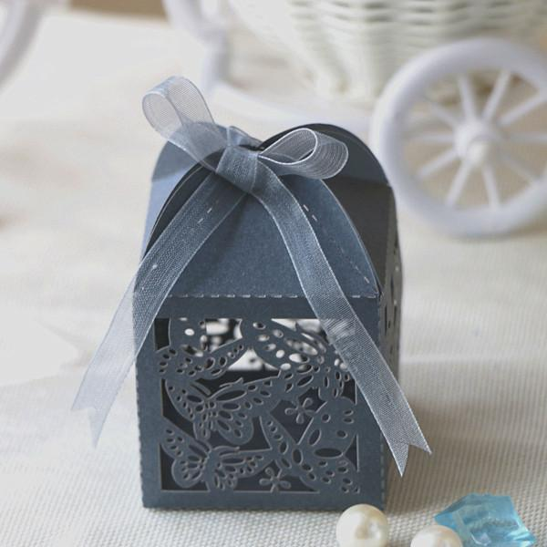 50pcs/lot free shipping laser cut Hollow Butterfly Design paper wedding Birthday candy chocolate snack boxes birthday party supplies