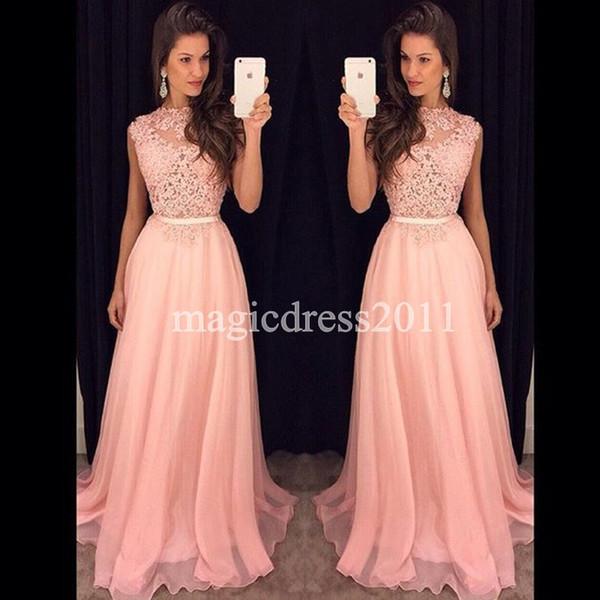 2019 Pink Lace Prom Abendkleider Formal Pageant Kleider A-Line Jewel Illusion Mieder stark verschönert Chiffon Party Brautjungfer Kleid