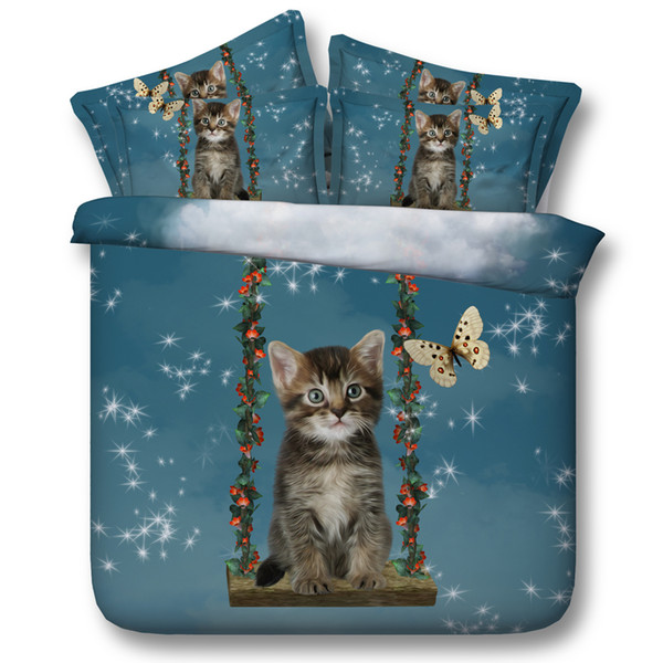 New 4pcs 3D Bedding Sets Cute Cat And Butterfly Printed Flat Bed Sheet Or Fitted Bed Sheets Queen King California king Size
