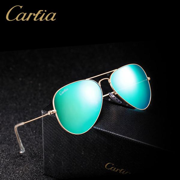 Top quality Glass lens Polit luxury Sunglasses carfia 58mm UV 380 sunglasses for men Designer sunglasses Vintage metal Sport Sun glasses Wit